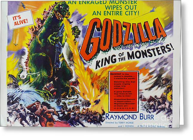 Godzilla King Of The Monsters An Enraged Monster Wipes Out An Entire City Vintage Movie Poster Greeting Card