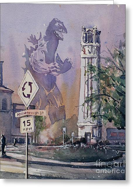Greeting Card featuring the painting Godzilla Smash Ncsu- Raleigh by Ryan Fox