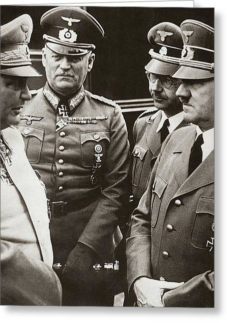 Goering Keitel Himmler And Hitler On His Birthday Circa 1941 Greeting Card by David Lee Guss