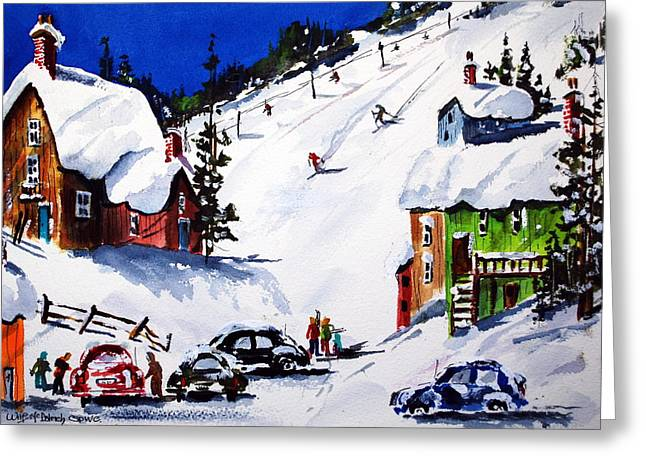 Going Downhill Greeting Card by Wilfred McOstrich