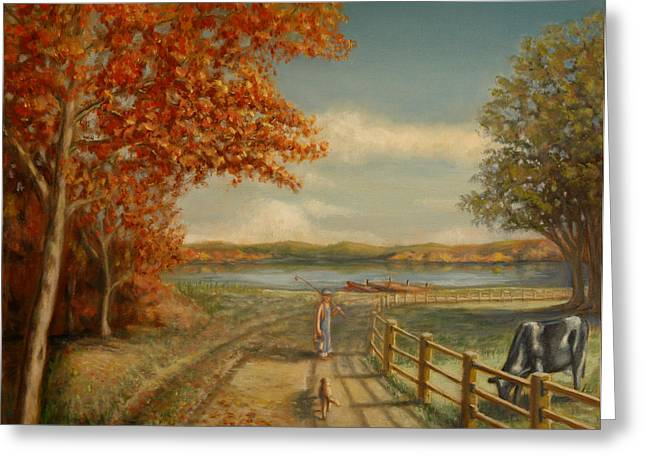 Going Fishing Greeting Card by Lance Anderson
