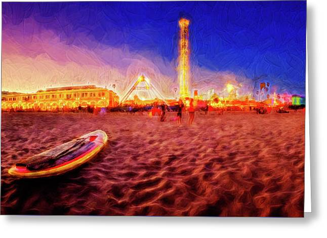 Going Home - Painterly - Santa Cruz Greeting Card by Scott Campbell