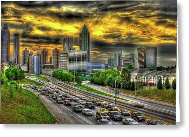 Going Nowhere Fast Atlanta Downtown Sunset Art Greeting Card