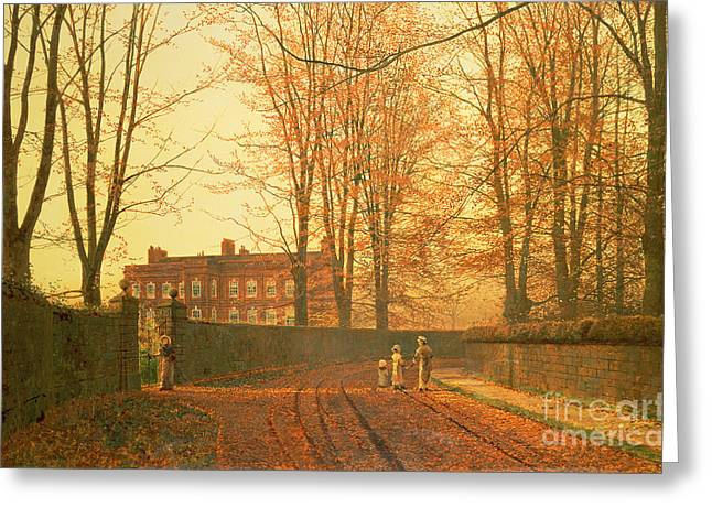 Going To Church Greeting Card by John Atkinson Grimshaw