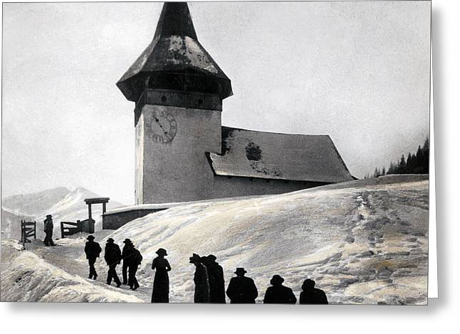 Going To Church On Christmas Morning Greeting Card by Swiss School
