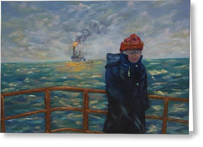 Sea Platform Paintings Greeting Cards - Going to Work Greeting Card by Douglas Ann Slusher