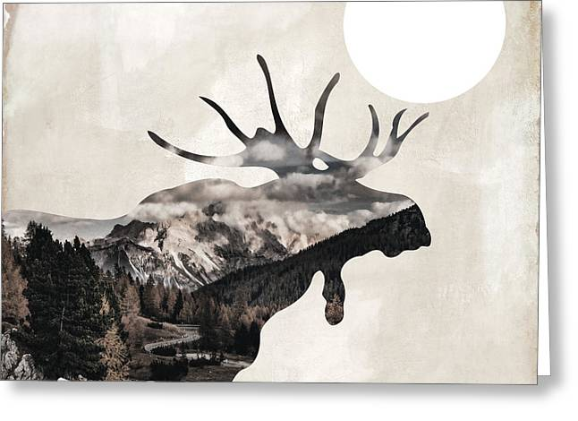 Going Wild Moose Greeting Card by Mindy Sommers
