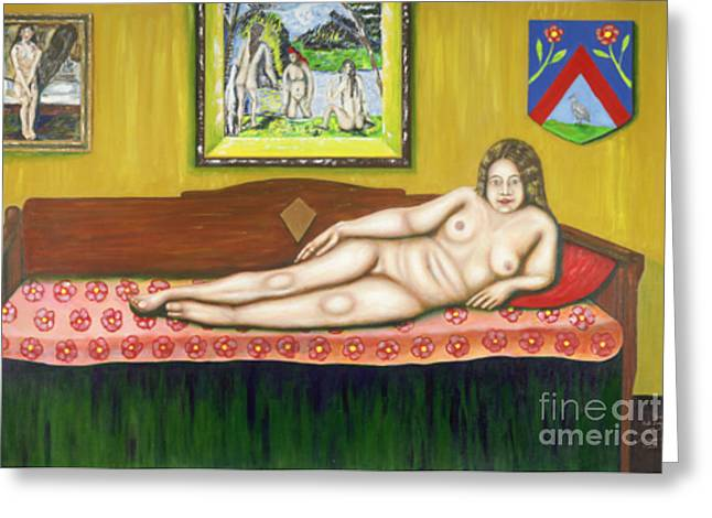 Gok With Munch And Cezanne Greeting Card by Neil Trapp
