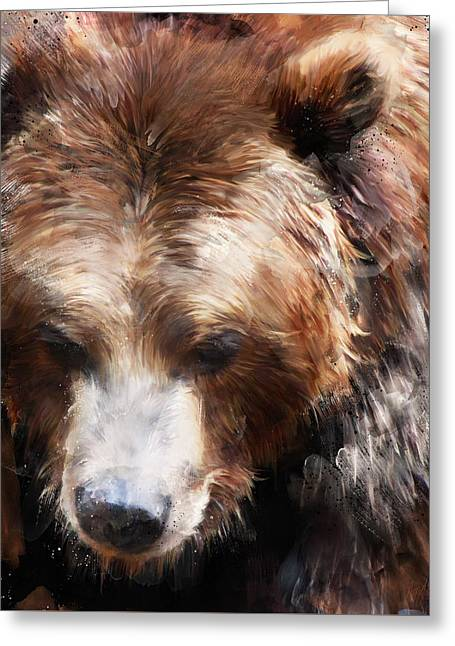 Bear // Gold Greeting Card by Amy Hamilton