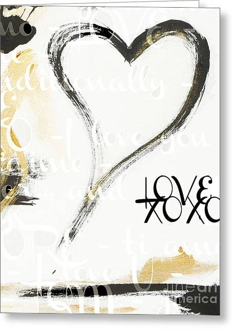 Gold And Black Artsy Heart Xoxo Greeting Card by WALL ART and HOME DECOR