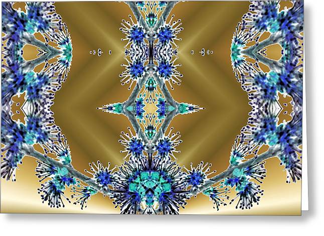 Dream Scape Greeting Cards - Gold and Blue Series Number Two Greeting Card by Mark Lopez