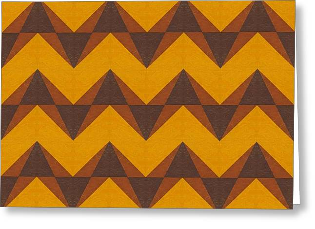Gold And Brown Chevron Collage  Greeting Card by Michelle Calkins