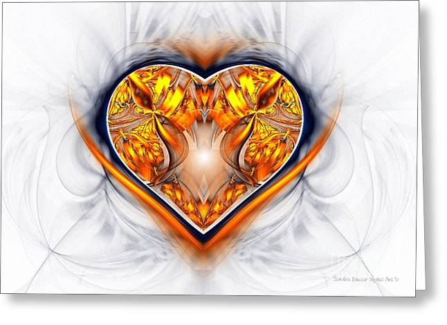 Gold And Sapphire Heart  Greeting Card by Sandra Bauser Digital Art