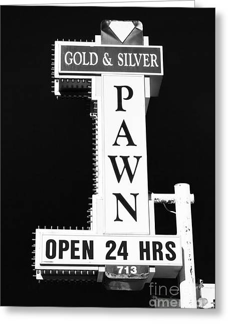 Gold And Silver Pawn Sign Greeting Card