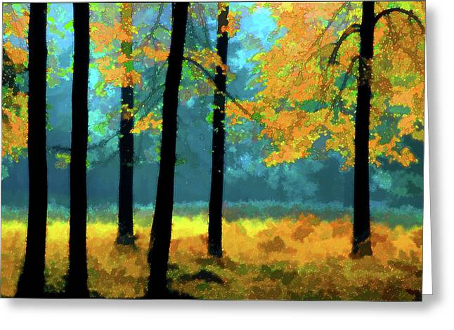 Gold Anl Blue Autumn Day Greeting Card by Vladimir Kholostykh