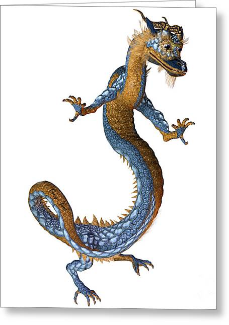 Gold Blue Dragon Greeting Card by Corey Ford