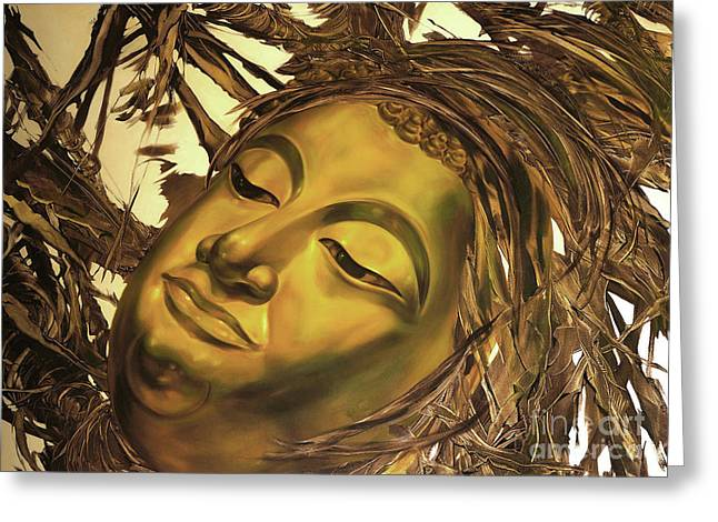 Greeting Card featuring the painting Gold Buddha Head by Chonkhet Phanwichien