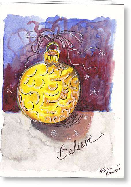 Gold Christmas Ornament Greeting Card by Michele Hollister - for Nancy Asbell