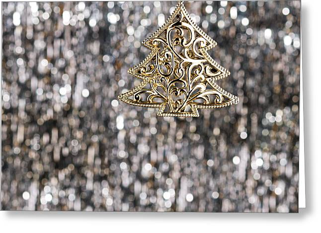 Greeting Card featuring the photograph Gold Christmas Tree by Ulrich Schade