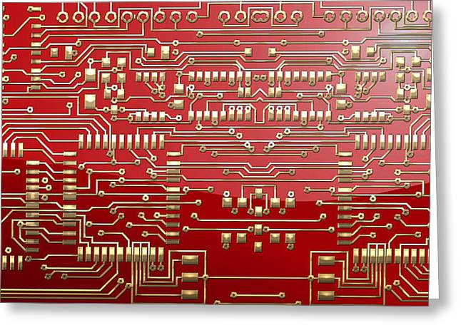 Gold Circuitry On Red Greeting Card