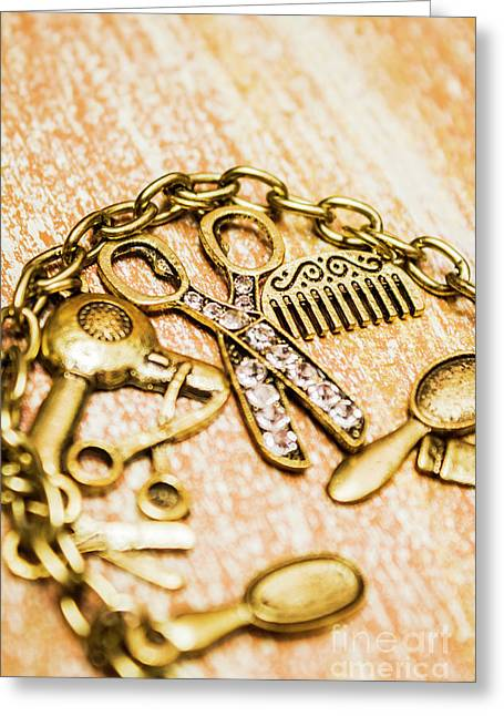 Gold Class Hair Styling Background Greeting Card by Jorgo Photography - Wall Art Gallery