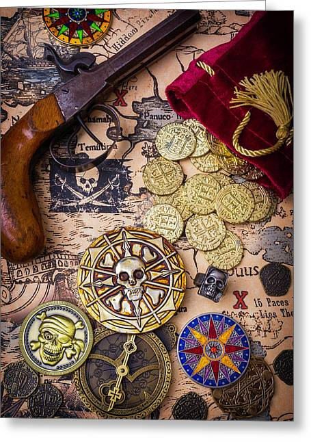 Gold Coins On Pirate Map Greeting Card by Garry Gay