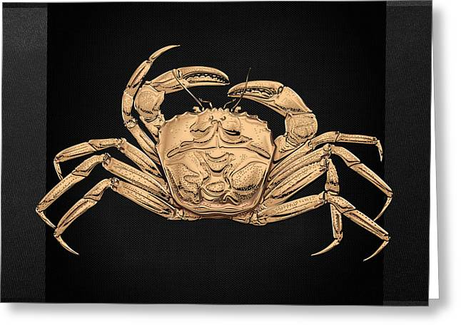 Greeting Card featuring the digital art Gold Crab On Black Canvas by Serge Averbukh