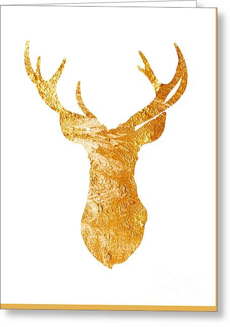 Gold Deer Silhouette Watercolor Art Print Greeting Card by Joanna Szmerdt