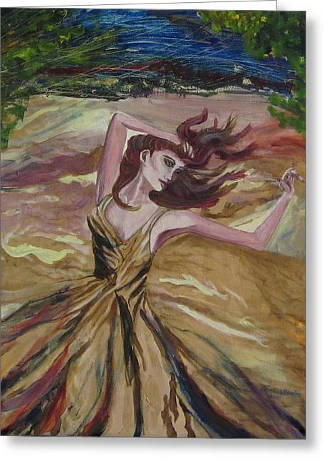 Gold Dress In The Wind Greeting Card by Penfield Hondros