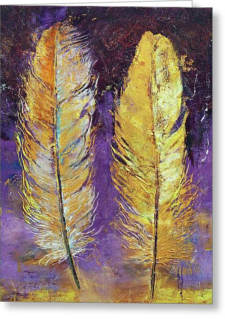 Gold Feathers Greeting Card