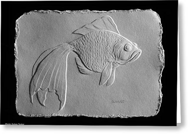 Greeting Card featuring the relief Gold Fish 1 by Suhas Tavkar