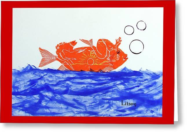 Gold Fish Greeting Card by International Artist Brent Litsey