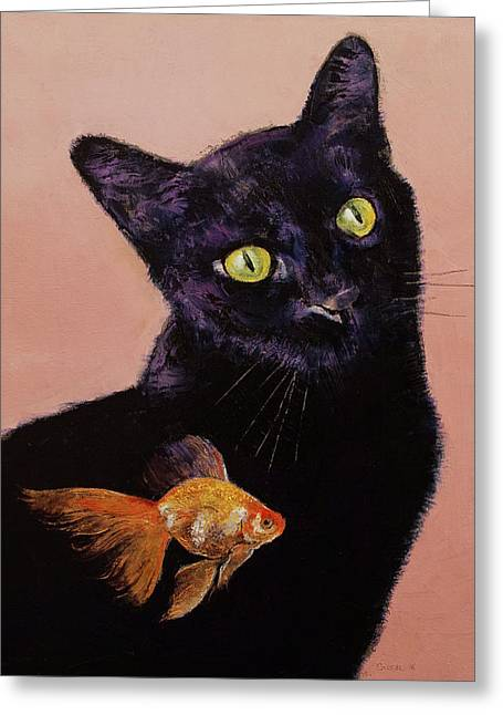 Gold Fish Greeting Card by Michael Creese