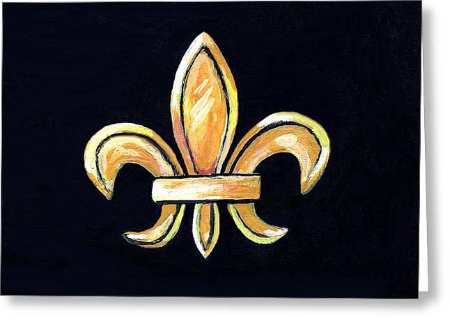 Gold Fleur De Lis On Black Greeting Card