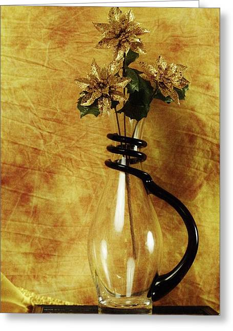 Gold Flowers In Vase Greeting Card