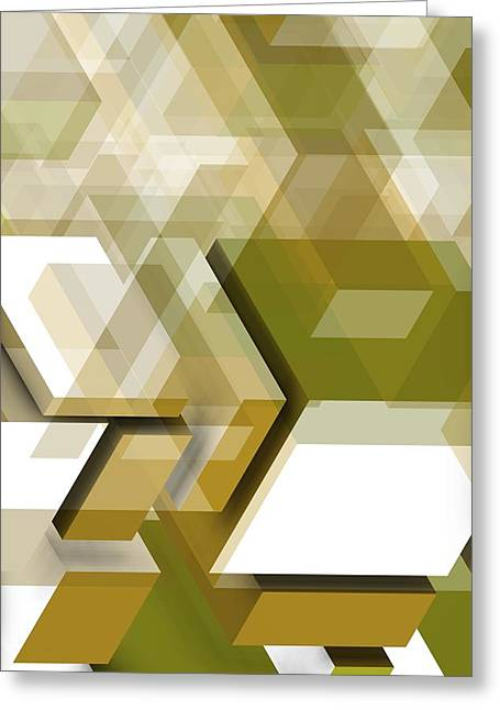 Gold Geometric Composition Greeting Card by Alberto RuiZ