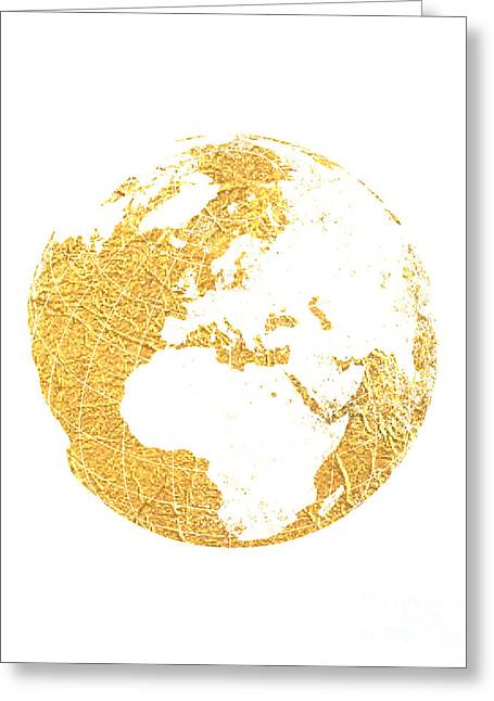 Gold Globe Greeting Card by Jennifer Mecca