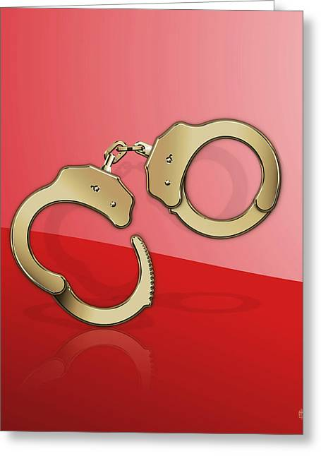 Gold Handcuffs On Red Greeting Card