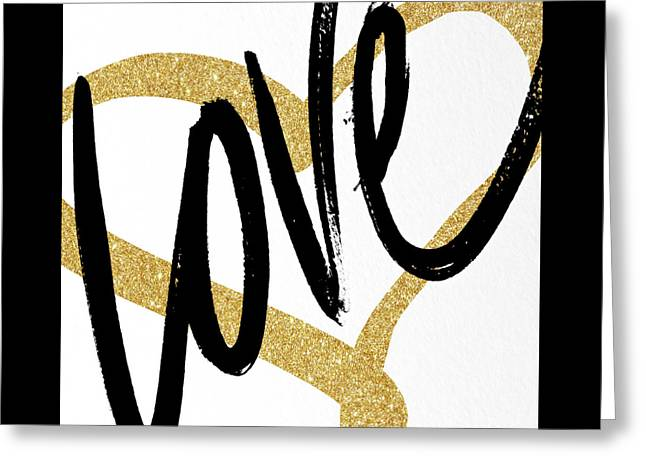 Gold Heart Black Script Love Greeting Card by South Social Studio