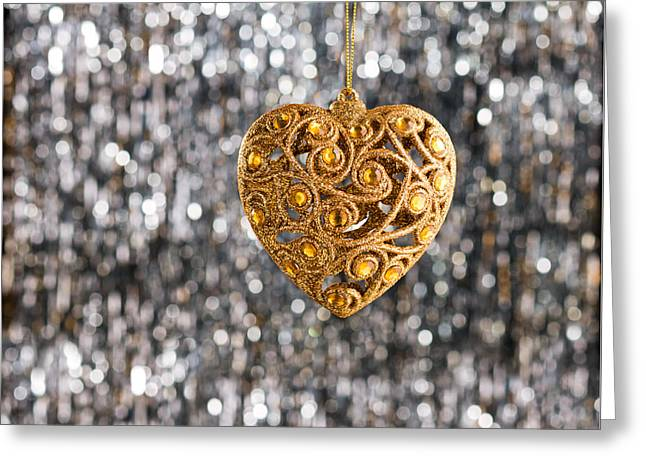 Greeting Card featuring the photograph Gold Heart  by Ulrich Schade