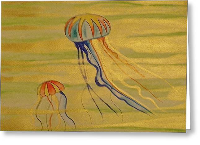 Gold Jellies Greeting Card by Erika Swartzkopf