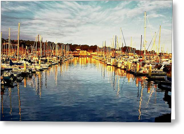 Gold Light, Monterey Marina Greeting Card