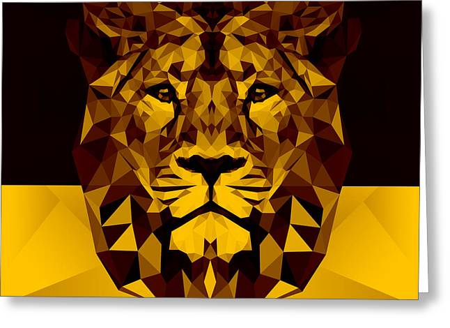 Gold Lion Greeting Card by Gallini Design