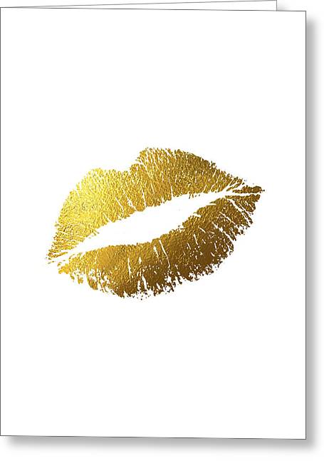 Gold Lips Vertical Greeting Card by BONB Creative