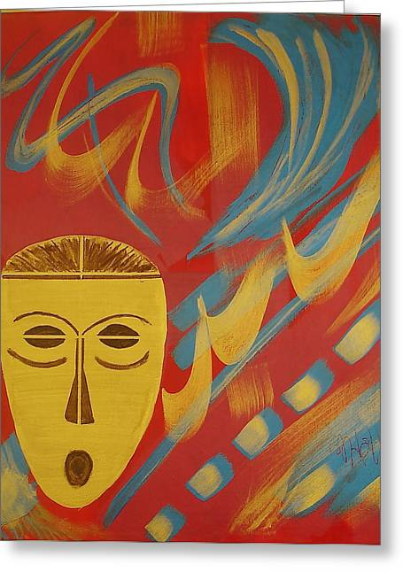 African Inspired Art Greeting Cards - Gold Mask on Red Greeting Card by Sheila J Hall