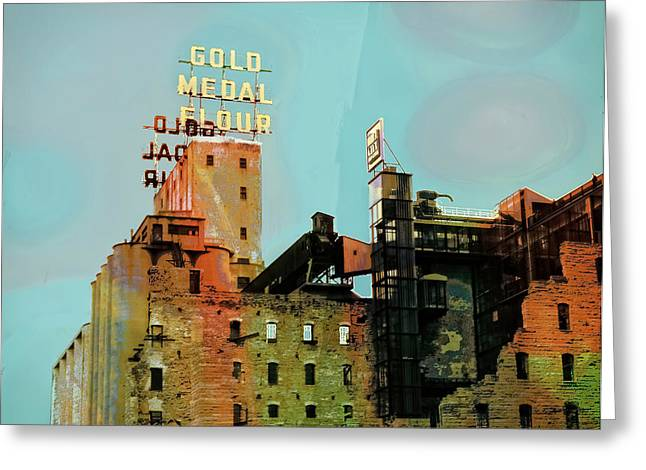 Greeting Card featuring the photograph Gold Medal Flour Pop Art by Susan Stone