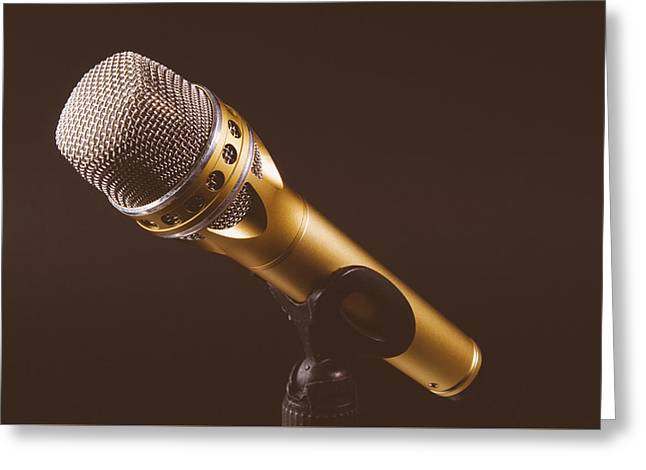 Gold Microphone Greeting Card