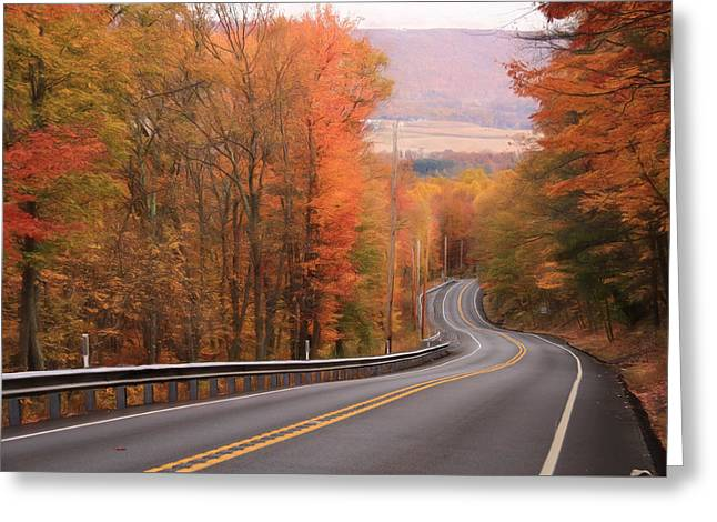 Gold Mine Road In Autumn Greeting Card by Lori Deiter