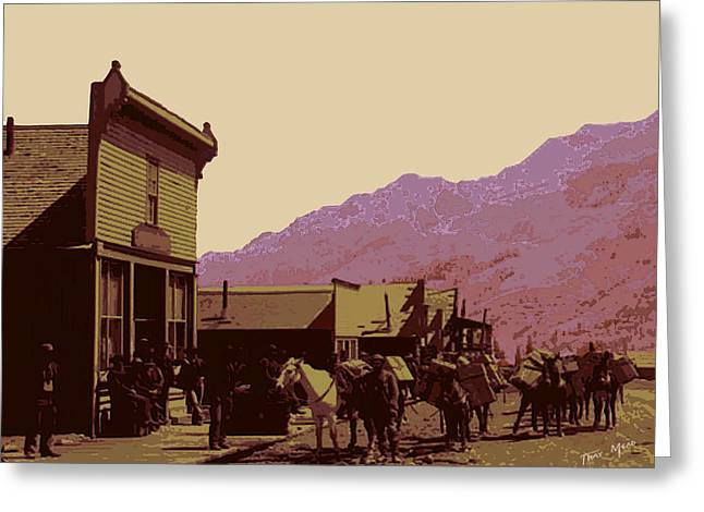 Gold Mining Town Greeting Card by Tray Mead