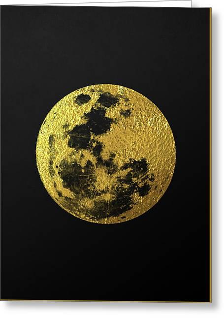 Gold Moon Greeting Card by Taylan Apukovska